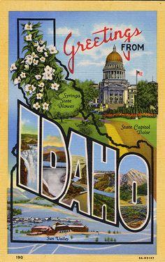 Idaho - Vereinigte Staaten von Amerika / United States of America / USA Wisconsin, Michigan, State Mottos, State Map, Vintage Travel Posters, Vintage Ski, Poster Vintage, Vintage Artwork, Vintage Stuff