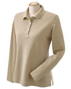 Devon & Jones Womens Pima Cotton Pique Long Sleeve Polo Shirt D110W