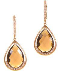 Earrings 18K Rose Gold Diamond Smoky Topaz Drop Earrings ($3,780) ❤ liked on Polyvore featuring jewelry, earrings, 18k earrings, pink gold earrings, drop earrings, rose gold earrings and rose gold drop earrings