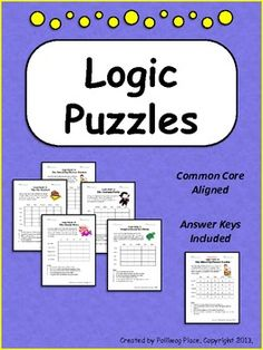 Logic Puzzles - Set of 5 Brain Teaser Puzzles with Grids ($)