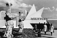 Mexico Pavilion, Expo '67, Montreal, 1967. Defined by a 'fan' of hyperbolic paraboloids, the 'half' of Mexico's pavilion for this fair, seen here (the other 'half' of the pavilion featured a replica of an ancient Maya structure).