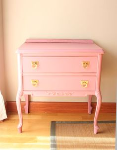 Inspiration for my 2 old dressers (pastel paint + bold brass or chrome drawer pulls)
