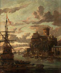 Abraham Jansz Storck, um 1635 Amsterdam – 1710 ebenda  LANDSCHAFT MIT BURGANLAGE, SCHIFFEN UND FIGURENSTAFFAGE Öl auf Leinwand. 79 x 65 cm. Links unten signiert. Das hochformatige Gemälde zeigt eine Hafenszene im...