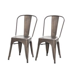 Amazon.com - Buschman Set of Two Dark Gun Metal Gray Tolix-Style Metal Indoor/Outdoor Stackable Chairs with Back - Chairs