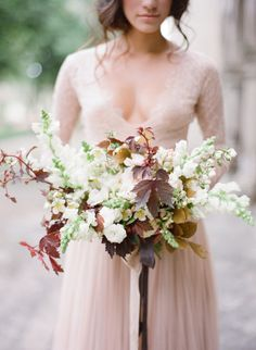 Fall inspired bouquet with leaves: http://www.stylemepretty.com/2015/06/18/elegant-mexico-wedding-inspiration/ | Photography: Jose Villa - http://josevilla.com/