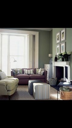 Green N Grey Hint Of Burgundy I Like It. Green Living Room ...