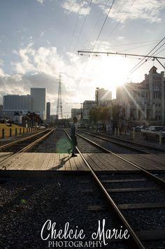 Streetcar Tracks Along the River and Jackson Square