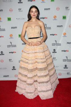 Crystal Reed In J. Mendel – 45th International Emmy Awards 2017