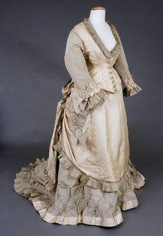 1870s Silk Bustle Gown