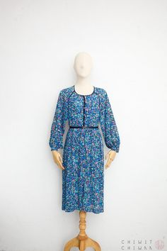 05b5129fbf4 Vintage 70s Dress Japanese Vintage Dress Blue Stained