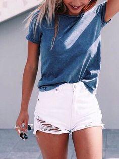 White denim shorts baggy blue tshirt