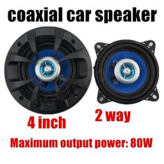 Coaxial Car Speaker For Vehicles 2 Way Durable Stereo Audio Blue 1 Pair New #UnbrandedGeneric