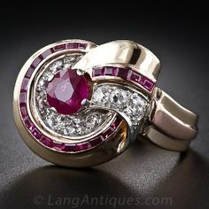 Retro Ruby and Diamond Ring      http://www.langantiques.com/