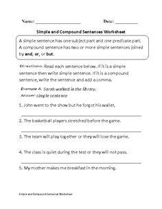 simple and compound sentences worksheet - Complex Sentences Worksheet