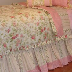 Girl's Cottage Chic Custom Bedroom Set-Select from Bedding, Window Treatments, Cushions, Pillows