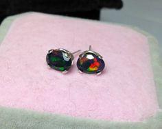 Black natural fire opal Sterling silver stud earrings , AAA+ fire quality , multicolored fire, plenty of red, amazing black opal studs