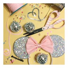 perfect for the party! silver sequin shimmery mouse ears #houseofmouseears #sequin #customears #discoballs #pinkandsilver
