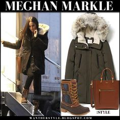 Meghan Markle in khaki green parka, lace up boots and brown bag