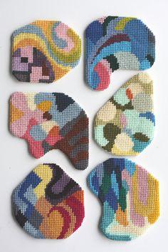 needlepoint coaster No15 by CresusArtisanat on Etsy, $30.00