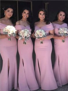 Off the Shoulder Mermaid Side Slit Newest Floor-length Long Popular Birdesmaid Dresses, - Coiffures de Mariage African Bridesmaid Dresses, Different Bridesmaid Dresses, Mermaid Bridesmaid Dresses, Burgundy Bridesmaid Dresses, Wedding Dresses, Bridesmaid Color, Lace Bridesmaids, Lace Evening Dresses, Slit Dress