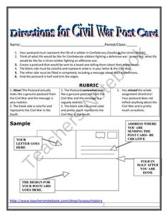 Civil War Postcard Project from Love Our History on TeachersNotebook.com (2 pages) 7th Grade Social Studies, Social Studies Classroom, Social Studies Activities, History Classroom, Teaching Social Studies, Teaching Us History, Teaching American History, History Teachers, Teaching Kids