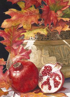 Annie Ferder still life watercolor painting red pomegranate