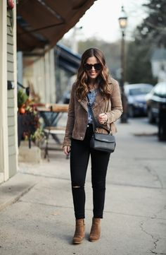 Chambray shirt+black distressed jeans+brown ankle boots+brown moto suede jacket+black crossbody bag+sunglasses. Fall Casual Outfit 2017