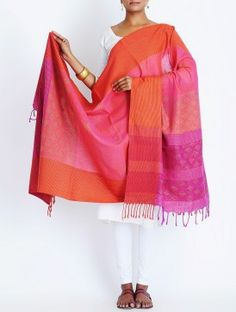 Fuschia-Orange Cotton Kantha Embroidered Dupatta