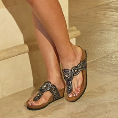 Sequins, seed beads, gem stone, heel. these sandals have it all! #comfort #shoes #sandals Rialto Shoes Bystander Black Sandal Rialto https://www.rialtoshoes.com/rialto-by-white-mountain-shoes-shop-all-styles/rialto-by-white-mountain-shoes-wedges-and-sandals/rialto-shoes-bystander-black-sandal.html