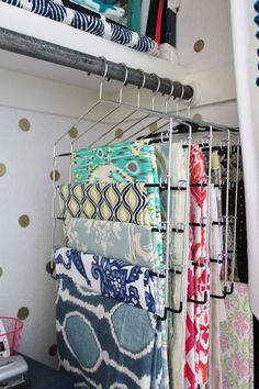 pant hangers as fabric storage..sorted by color/type