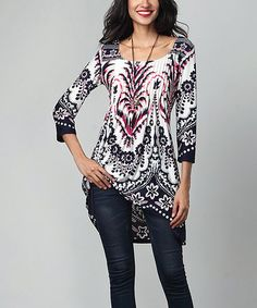 Love this Navy & Fuchsia Floral Pin-Tuck Empire-Waist Tunic by Reborn Collection on #zulily! #zulilyfinds
