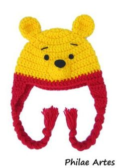 🐻 Touca Ursinho Puff - / 🐻 Coif Winnie the Pooh - Crochet Baby Hats, Crochet Beanie, Crochet Gifts, Crochet For Kids, Crochet Clothes, Baby Knitting, Knitted Hats, Knit Crochet, Baby Boy Beanies