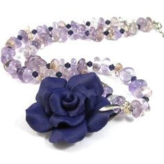 Amethyst Necklace With Purple Rose Swarovski Crystals Sterling Silver | Thesingingbeader - Jewelry on ArtFire
