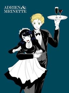 Marinette as a waitress maid and Adrien as a waiter from Miraculous Ladybug and Cat Noir
