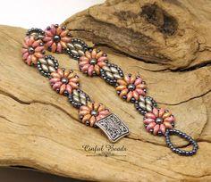 SUPERDUO FLOWER Armband-Rot Glanz und Kreide Silber