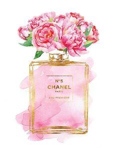 Printed Chanel No5 art 8x10 Pink Peony watercolor by hellomrmoon