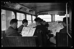 Buy a Sunday paper (Bus passengers reading the Daily Herald newspaper, 1933, George Woodbine, National Media Museum)