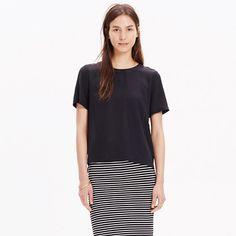 A sophisticated silk take on a pared-down T-shirt shape. <ul><li>True to size.</li><li>Silk.</li><li>Dry clean.</li><li>Import.</li><li>Madewell.com only.</li></ul>
