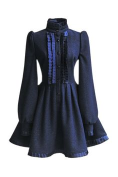 Pretty navy wool dress with full sleeves and satiny box pleated accents. A subdued wearable version of Gothic Lolita fashion :D