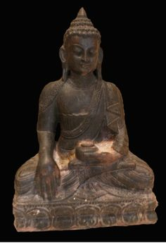 """Nepalese Stone Seated Buddha - SK.044  Origin: Nepal  Circa: 1400 AD to 1700 AD   Dimensions: 21.5"""" (54.6cm) high x 15"""" (38.1cm) wide   Collection: Asian  Medium: Stone  Condition: Very Fine    £40,000.00"""