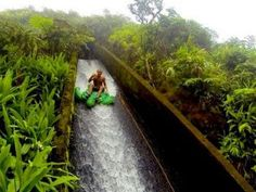 Natural flume water slide on the Big Island of Hawaii. On the hike here you'll pass hidden waterfalls and breathtaking overlooks with views of gorgeous Waipio Valley. To finally get to this slide, you have to hike through a tunnel for about half a mile. Hawaii Honeymoon, Hawaii Vacation, Hawaii Travel, Dream Vacations, Vacation Spots, Big Island Hawaii, The Big Island, Hawaii Adventures, Moving To Hawaii