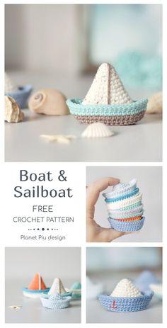 Boat and Sailboat Baby Knitting Patterns, Minion Crochet Patterns, Amigurumi Patterns, Crochet Gratis, Crochet Geek, Cute Crochet, Ravelry Crochet, Crochet Boat, Crochet Baby Toys