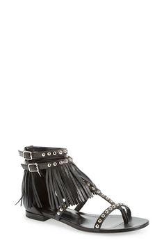 Saint Laurent 'Nu Pieds' Studded Fringe Sandal (Women) available at #Nordstrom