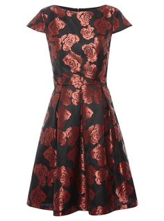 Red-flower-jacquard-dress ASDA