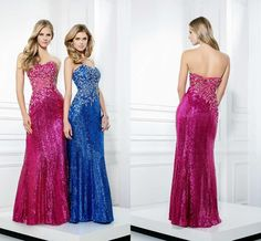 Discount 2015 Sparking Prom Dresses With Sweetheart Strapless Crystal Beaded Sheath Sequins Royal Blue Hot Pink Evening Dress Pageant Gowns On Sale Online with $108.87/Piece   DHgate