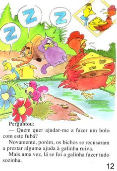 Página 14 do livro A GALINHA RUIVA Maine Coon, Spiderman, Fictional Characters, Kid Books, Story Books, Feelings Activities, Traditional Tales, Art Classroom, Paintings
