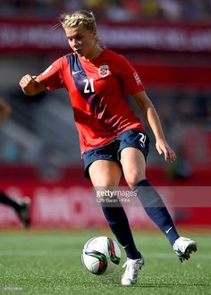 Ada Hegerberg of Norway runs with the ball during the FIFA Women's World Cup 2015 Round of 16 match between Norway and England at Lansdowne Stadium on June 22, 2015 in Ottawa, Canada.