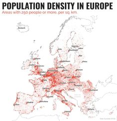 A map showing population density in Europe and the areas where there are more than 250 people per square kilometre European Map, European History, History Memes, World History, History Facts, Planet Map, Human Geography, Historical Maps, Ancient Architecture