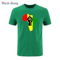 AFRICA Power Rasta Reggae Music Logo men's fashion Cotton summer t shirt