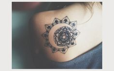 Sun and moon lotus tattoo